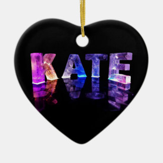 The Name Kate in 3D Lights (Photograph) Ceramic Ornament