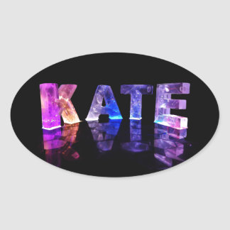 The Name Kate in 3D Lights (Photograph) Oval Sticker