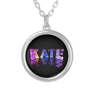 The Name Kate in 3D Lights (Photograph) Silver Plated Necklace