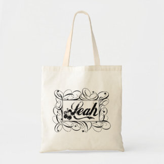 The name Leah in black inside stylish frame Tote Bag