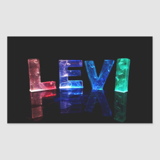 The Name Levi in 3D Lights (Photograph) Rectangular Sticker