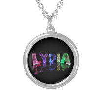 The Name Lydia in 3D Lights (Photograph) Silver Plated Necklace