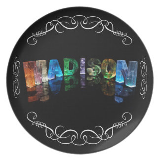 The Name Madison in 3D Lights (Photograph) Melamine Plate