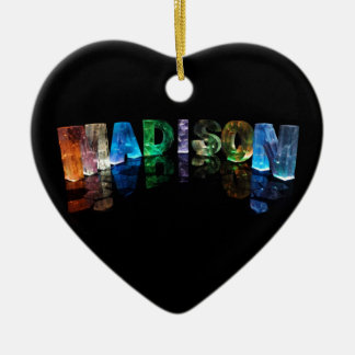 The Name Madison in 3D Lights (Photograph) Ceramic Heart Decoration