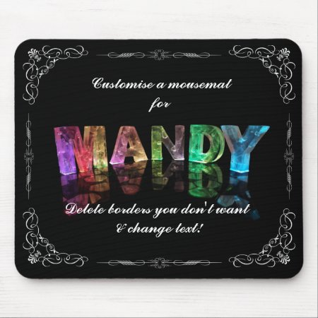 The Name Mandy in 3D Lights (Photograph) Mousemats
