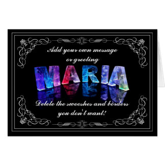 The Name Maria in 3D Lights (Photograph) Cards