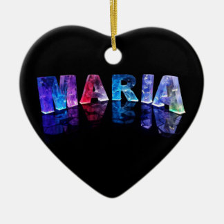 The Name Maria in 3D Lights (Photograph) Ceramic Ornament
