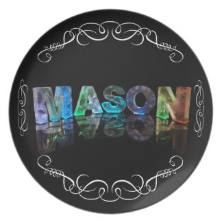 The Name Mason in 3D Lights (Photograph) Melamine Plate