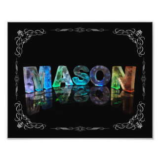 The Name Mason in 3D Lights (Photograph) Photo Print