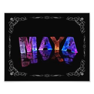 The Name Maya in 3D Lights (Photograph) Photo Print