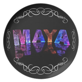 The Name Maya in 3D Lights (Photograph) Plate