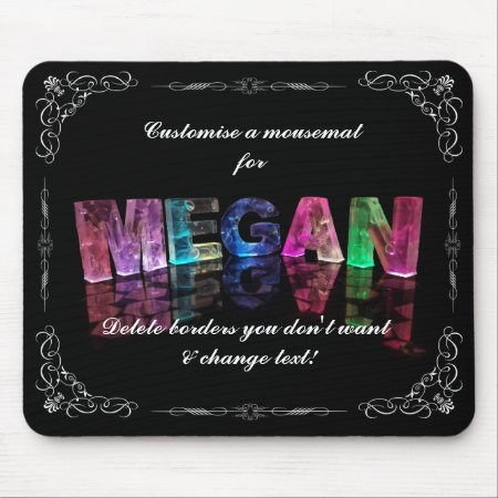 The Name Megan in 3D Lights (Photograph) Mousepad
