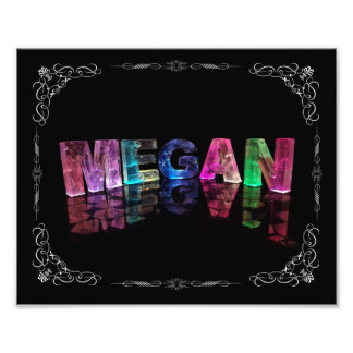 The Name Megan in 3D Lights (Photograph) Photo Print