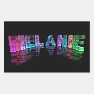 The Name Melanie in 3D Lights (Photograph) Rectangular Sticker