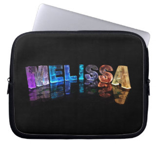 The Name Melissa in 3D Lights (Photograph) Computer Sleeve