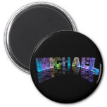 The Name Michael in 3D Lights (Photograph) 2 Inch Round Magnet