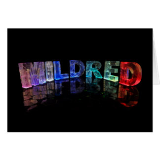 The Name Mildred in 3D Lights (Photograph) Greeting Card