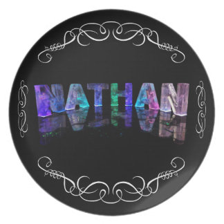 The Name Nathan -  Name in Lights (Photograph Dinner Plate