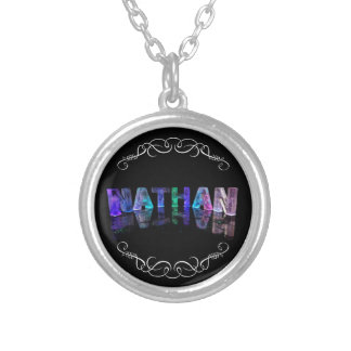 The Name Nathan -  Name in Lights (Photograph Round Pendant Necklace