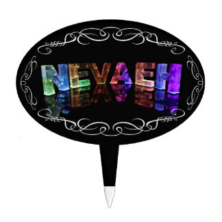 The Name Nevaeh -  Name in Lights (Photograph) Cake Topper
