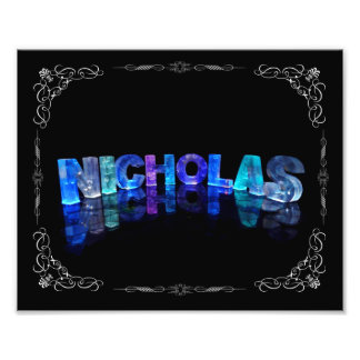 The Name Nicholas -  Name in Lights (Photograph) Photo Print