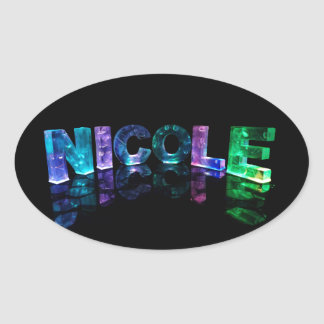 The Name Nicole in 3D Lights (Photograph) Oval Sticker