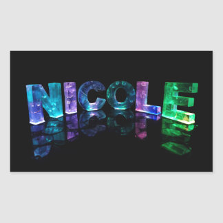 The Name Nicole in 3D Lights (Photograph) Rectangle Sticker