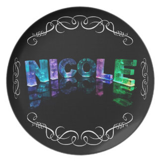 The Name Nicole -  Name in Lights (Photograph) Dinner Plate