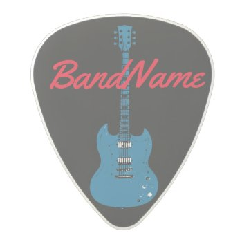 The Name Of The Band  Rock Polycarbonate Guitar Pick by mixedworld at Zazzle