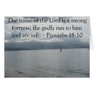 The name of the Lord is a strong fortress; the god Greeting Card