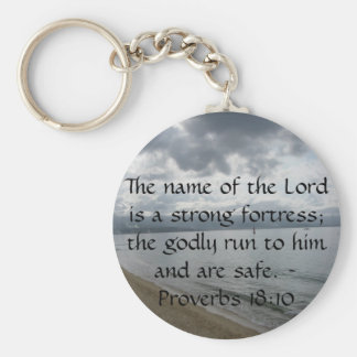 The name of the Lord is a strong fortress; the god Basic Round Button Keychain