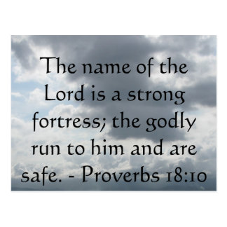 The name of the Lord is a strong fortress; the god Postcards
