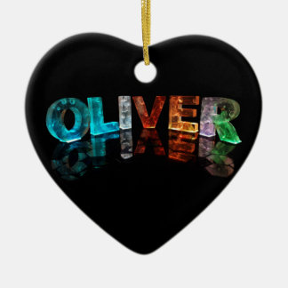 The Name Oliver in 3D Lights (Photograph) Ceramic Ornament