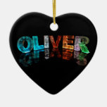 The Name Oliver in 3D Lights (Photograph) Double-Sided Heart Ceramic Christmas Ornament