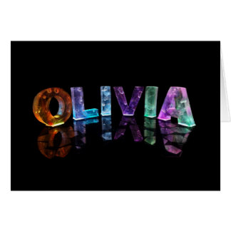 The Name Olivia in 3D Lights (Photograph) Card