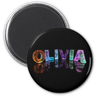 The Name Olivia in 3D Lights (Photograph) Magnets