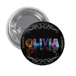 The Name Olivia -  Name in Lights (Photograph) Pinback Button