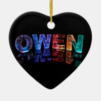 The Name Owen in 3D Lights (Photograph) Ceramic Ornament