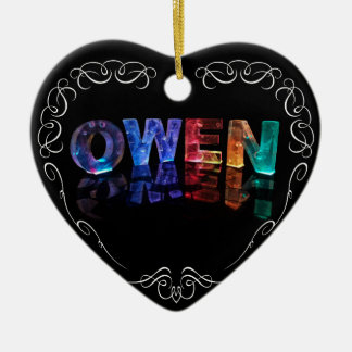 The Name Owen -  Name in Lights (Photograph) Ceramic Ornament