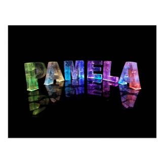 The Name Pamela in 3D Lights (Photograph) Postcard