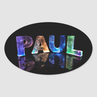 The Name Paul in 3D Lights (Photograph) Oval Sticker