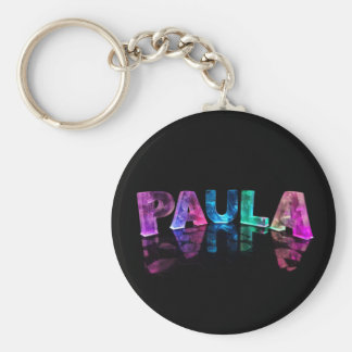 The Name Paula in 3D Lights (Photograph) Basic Round Button Keychain