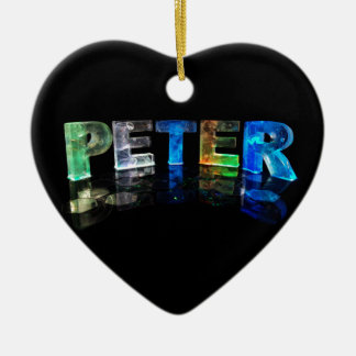 The Name Peter in 3D Lights (Photograph) Double-Sided Heart Ceramic Christmas Ornament