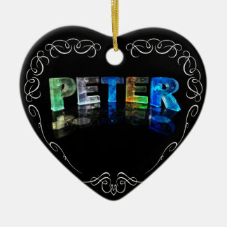 The Name Peter -  Name in Lights (Photograph) Double-Sided Heart Ceramic Christmas Ornament