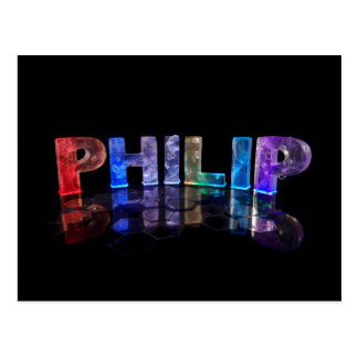The Name Philip in 3D Lights (Photograph) Postcard