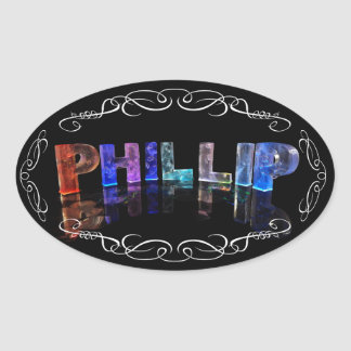 The Name Phillip -  Name in Lights (Photograph) Oval Sticker