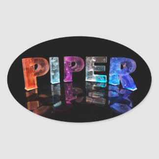 The Name Piper in 3D Lights (Photograph) Oval Sticker