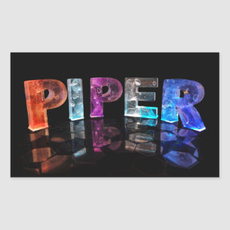 The Name Piper in 3D Lights (Photograph) Rectangular Sticker