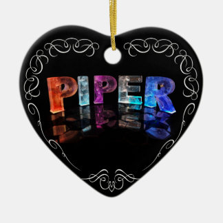 The Name Piper -  Name in Lights (Photograph) Double-Sided Heart Ceramic Christmas Ornament