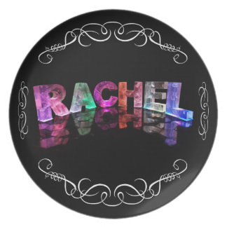 The Name Rachel in 3D Lights (Photograph) Dinner Plate